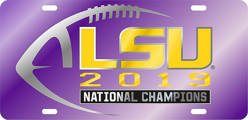 LSU Tigers National Championship Champs License Plate Tag 2019 - 2020 Purple 37441