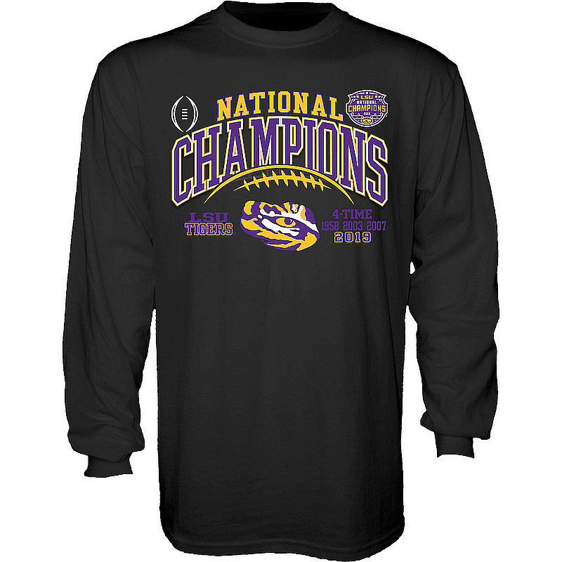 LSU Tigers National Championship Champs Long Sleeve Tshirt 2019 - 2020 Laces Black GILT