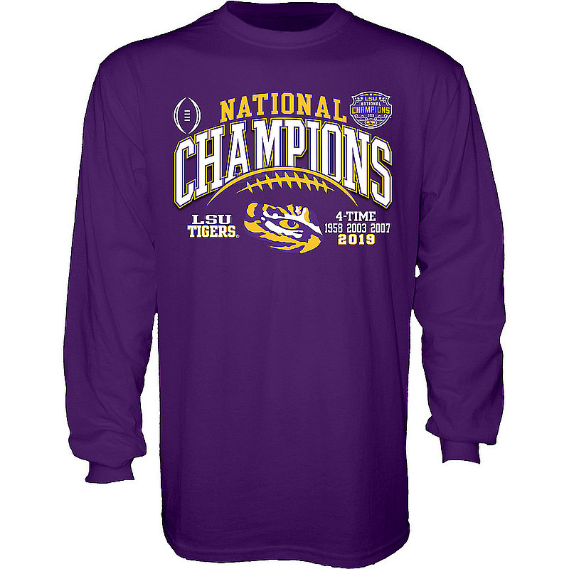 LSU Tigers National Championship Champs Long Sleeve Tshirt 2019 - 2020 Laces Purple GILT