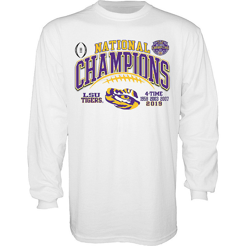 LSU Tigers National Championship Champs Long Sleeve Tshirt 2019 - 2020 Laces White GILT