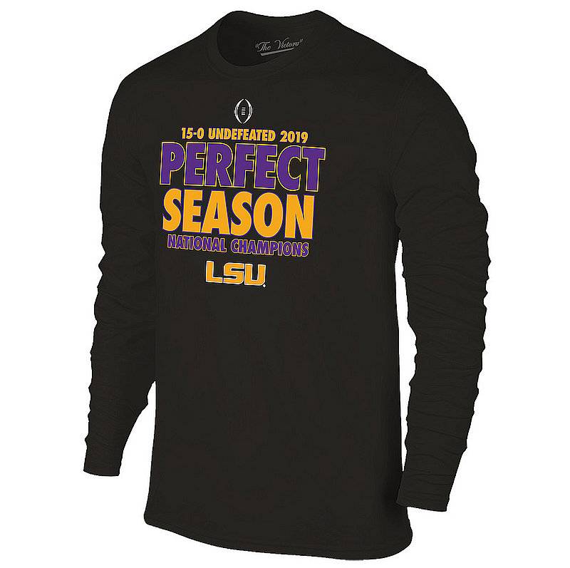 LSU Tigers National Championship Champs Long Sleeve Tshirt 2019 - 2020 Perfect Season Black VLS9631B