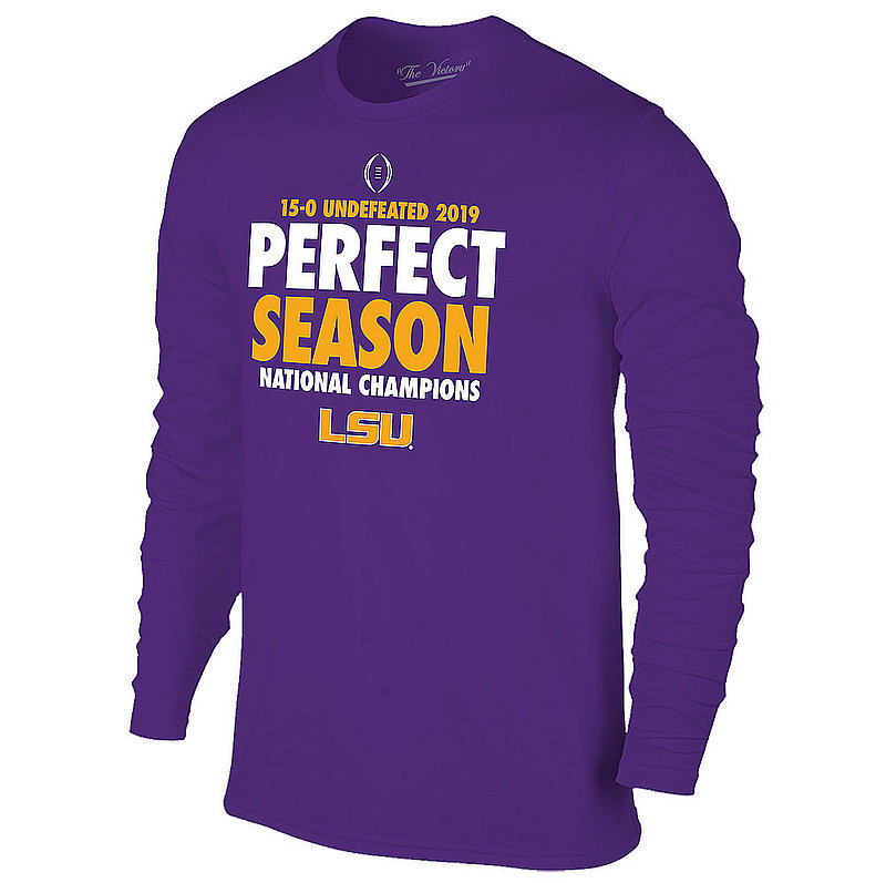 LSU Tigers National Championship Champs Long Sleeve Tshirt 2019 - 2020 Perfect Season Purple
