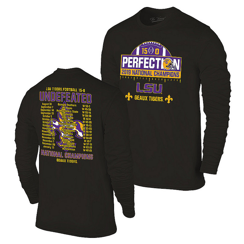 LSU Tigers National Championship Champs Perfection Long Sleeve Tshirt 2019 - 2020 Schedule Black VLS9633B