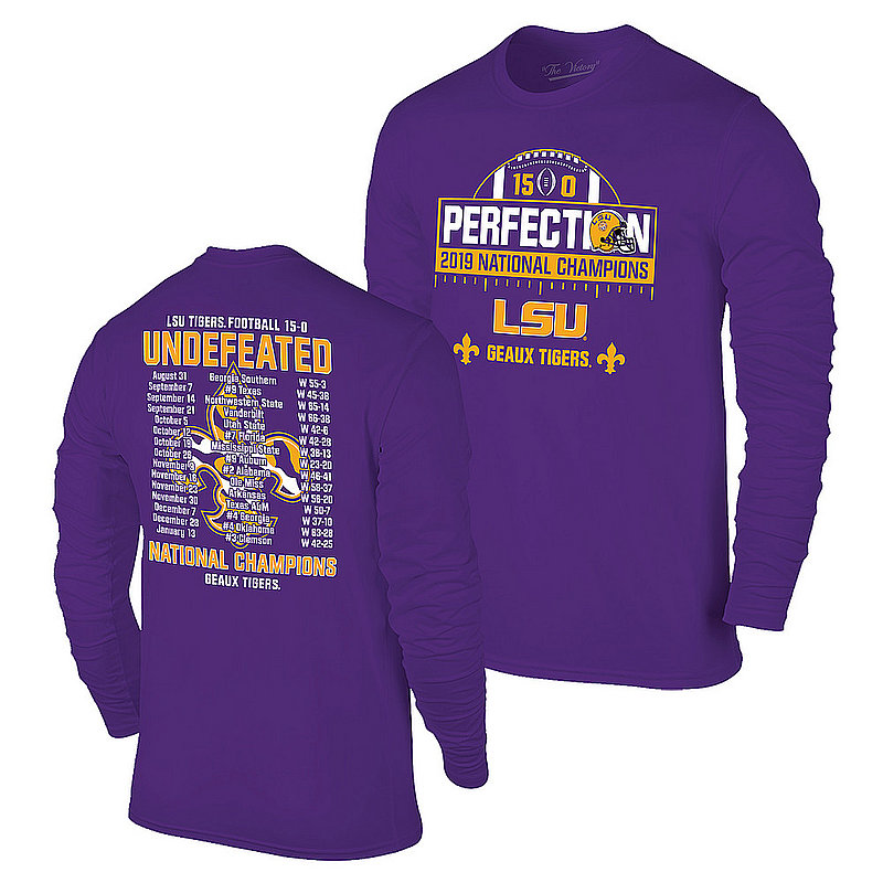 LSU Tigers National Championship Champs Perfection Long Sleeve Tshirt 2019 - 2020 Schedule Purple VLS9633C