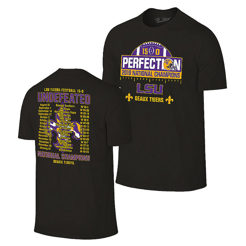 LSU Tigers National Championship Champs Perfection Tshirt 2019 - 2020 Schedule Black VLS9633B