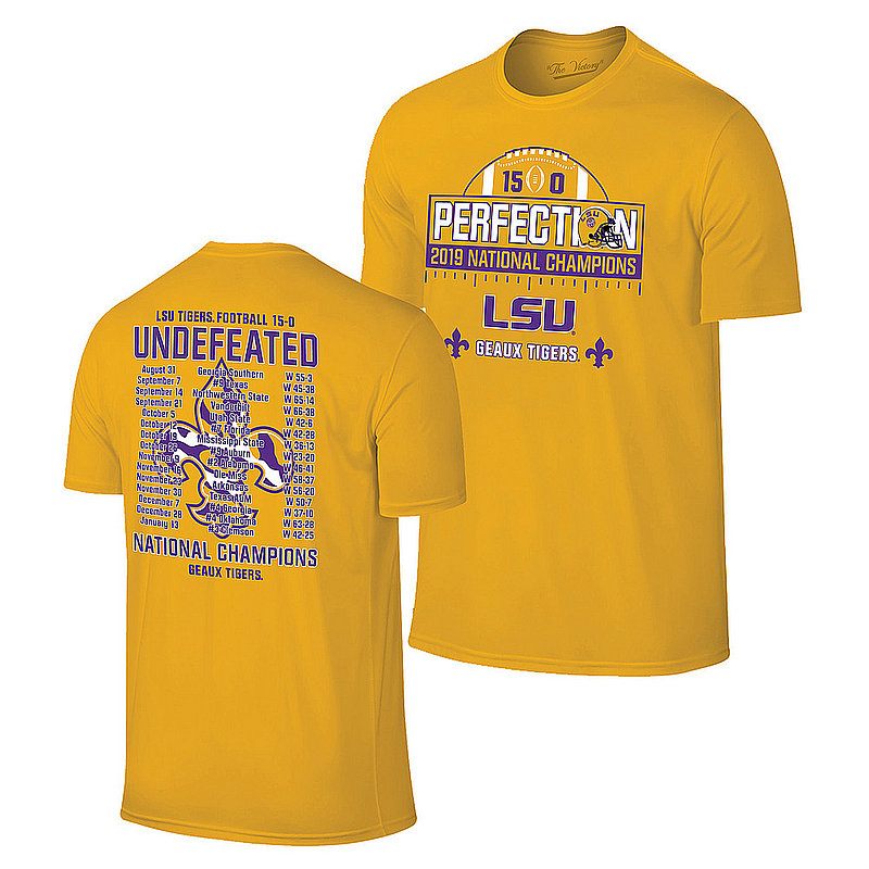 LSU Tigers National Championship Champs Perfection Tshirt 2019 - 2020 Schedule Gold VLS9633A