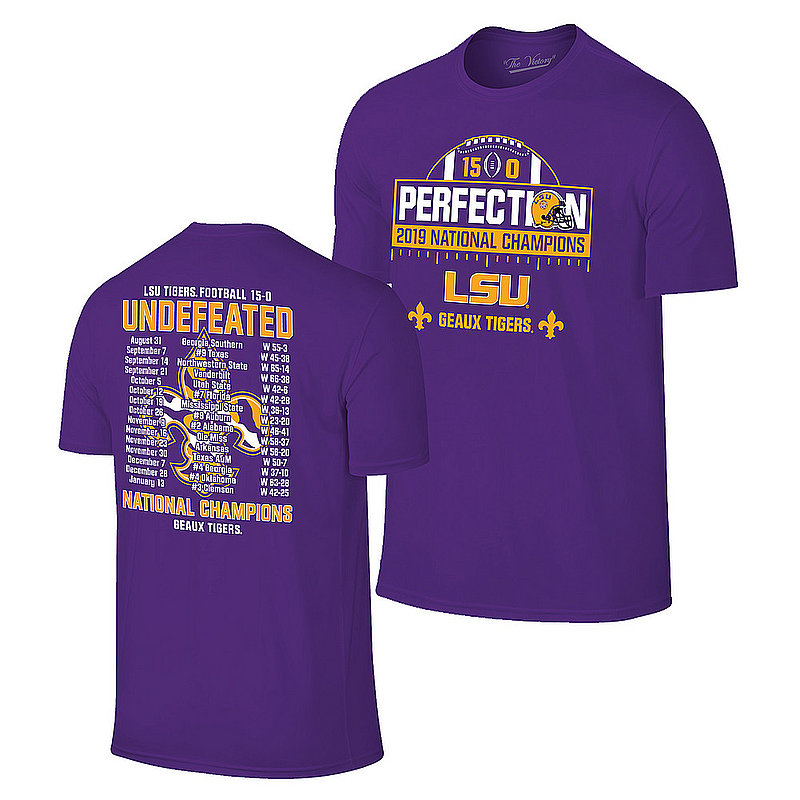LSU Tigers National Championship Champs Perfection Tshirt 2019 - 2020 Schedule Purple VLS9633C