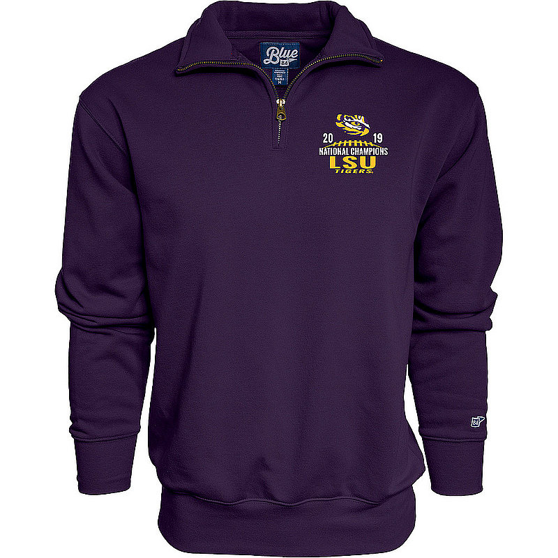 LSU Tigers National Championship Champs Quarter Zip Sweatshirt 2019 - 2020 MORTIMER-CREST-CFP19-NC_B3B25_LSU