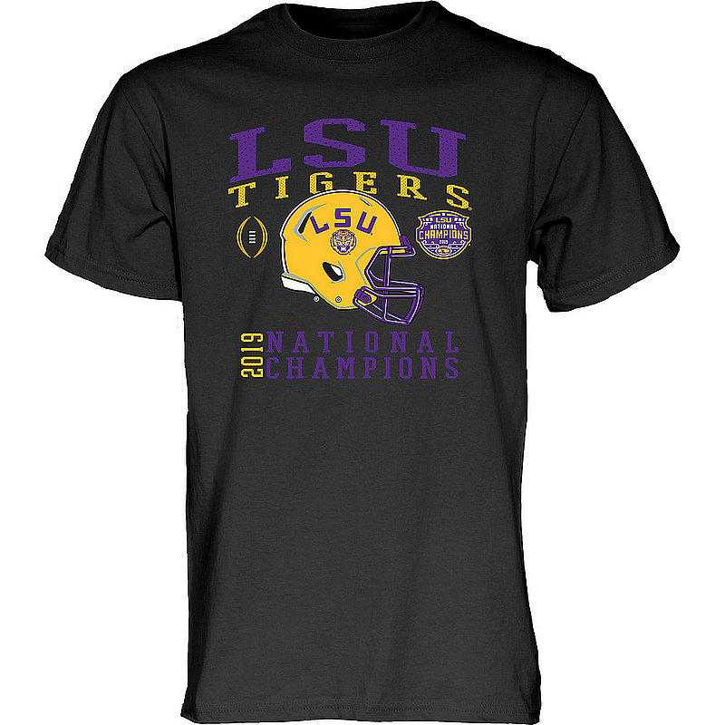 LSU Tigers National Championship Champs Tshirt 2019 - 2020 Helmet Black NEVER-DIE-CFP19-NC_B3B2C_LSU