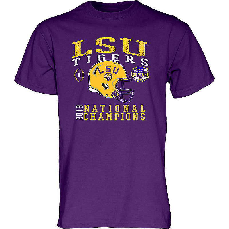 LSU Tigers National Championship Champs Tshirt 2019 - 2020 Helmet Purple NEVER-DIE-CFP19-NC_B3B2C_LSU