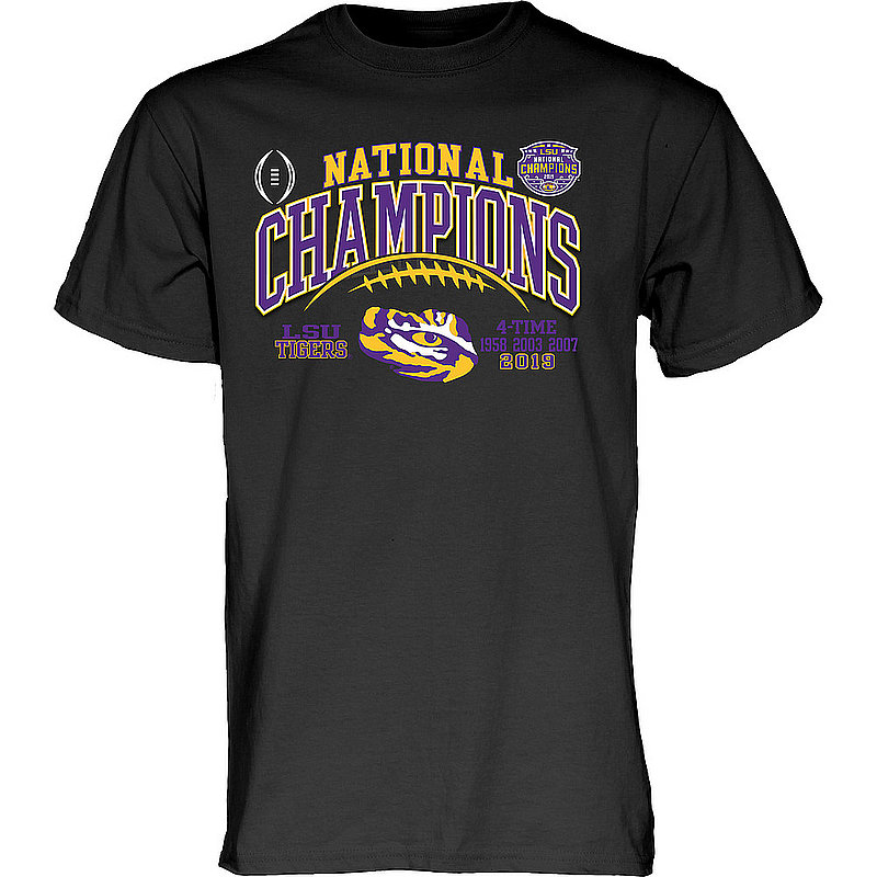LSU Tigers National Championship Champs Tshirt 2019 - 2020 Laces Black GILT