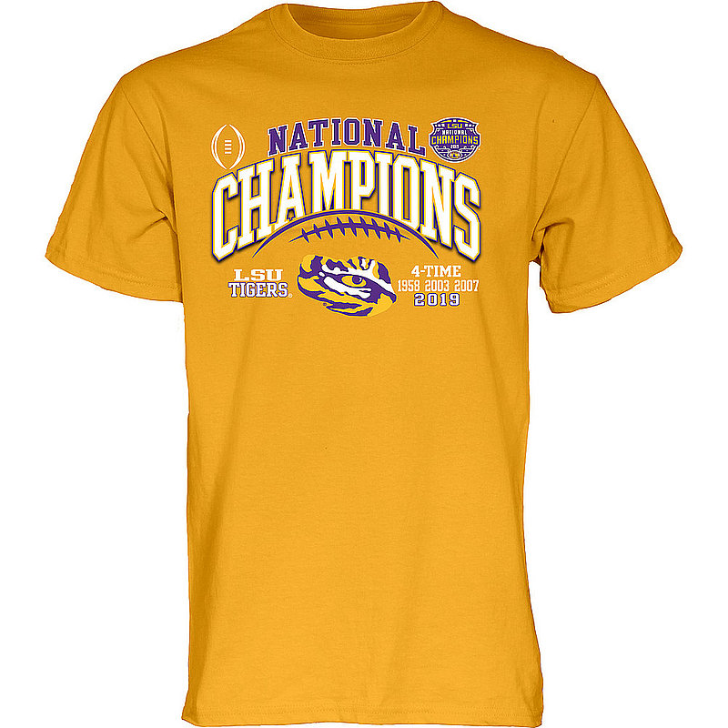 LSU Tigers National Championship Champs Tshirt 2019 - 2020 Laces Gold GILT
