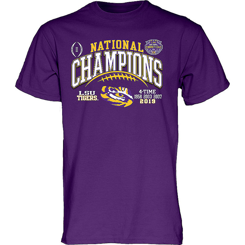 LSU Tigers National Championship Champs Tshirt 2019 - 2020 Laces Purple GILT