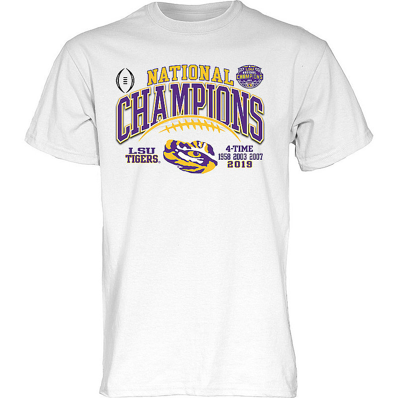 LSU Tigers National Championship Champs Tshirt 2019 - 2020 Laces White GILT