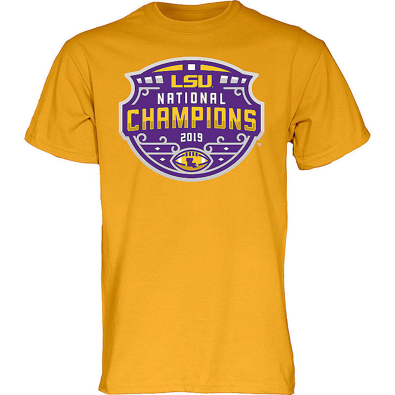 LSU Tigers National Championship Champs Tshirt 2019 - 2020 Official Logo Gold