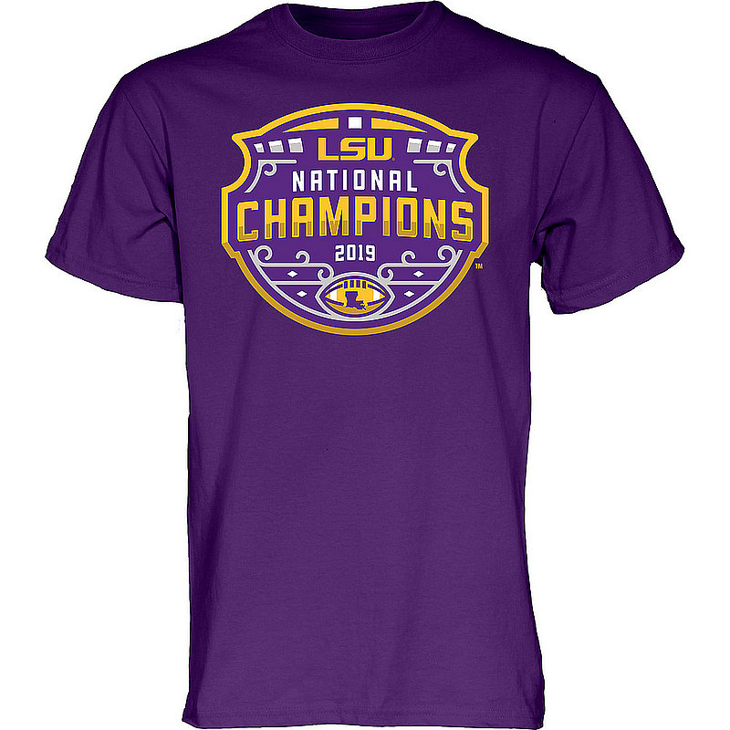 LSU Tigers National Championship Champs Tshirt 2019 - 2020 Official Logo Purple