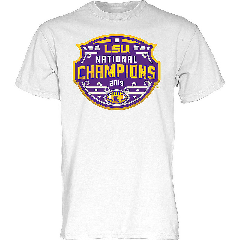 LSU Tigers National Championship Champs Tshirt 2019 - 2020 Official Logo White