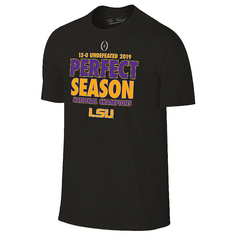 LSU Tigers National Championship Champs Tshirt 2019 - 2020 Perfect Season Black VLS9631B