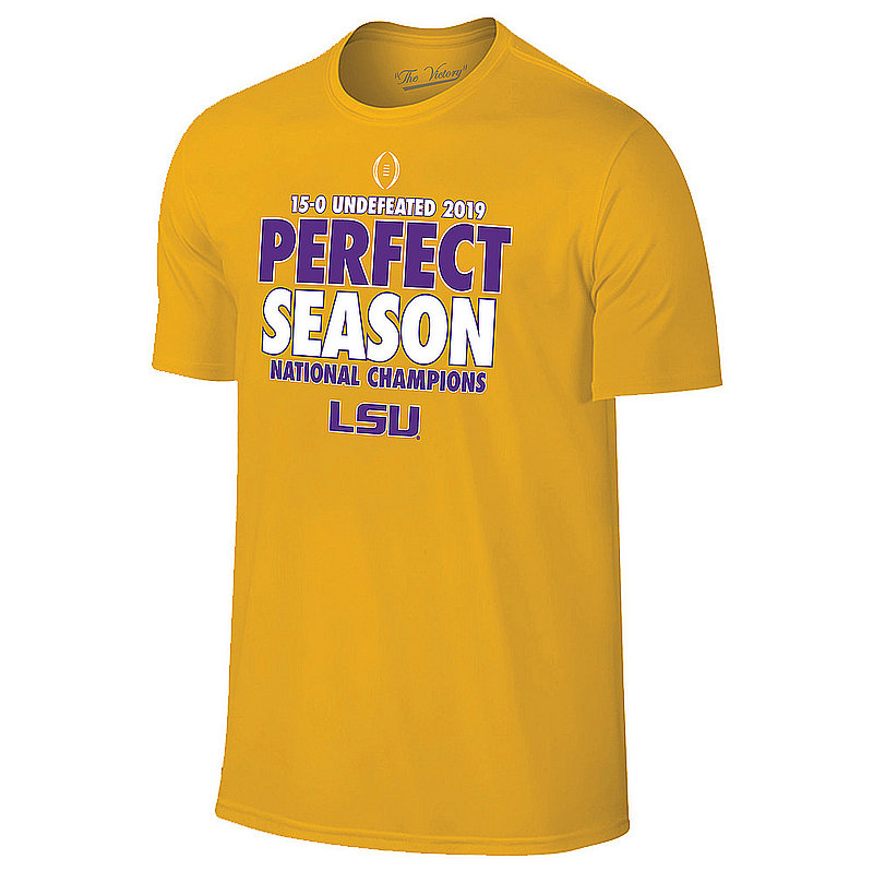 LSU Tigers National Championship Champs Tshirt 2019 - 2020 Perfect Season Gold