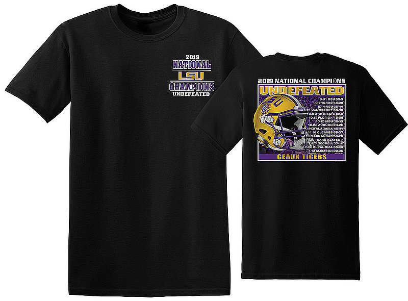 LSU Tigers National Championship Champs Tshirt 2019 - 2020 Recap Black NCFBCHP19RECAPLSUHBK