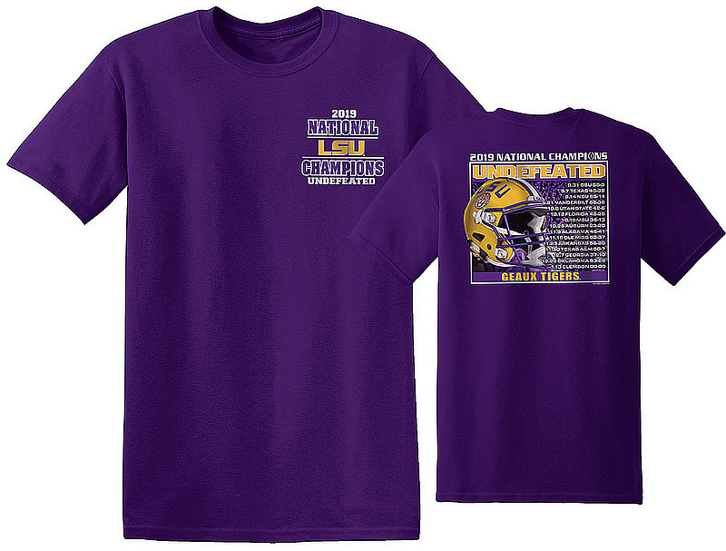 LSU Tigers National Championship Champs Tshirt 2019 - 2020 Recap Purple NCFBCHP19RECAPLSUGPR