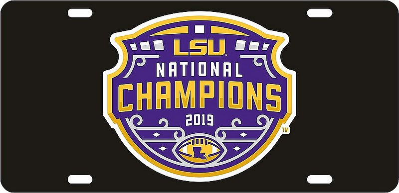 LSU Tigers National Championship Champs Vinyl Decal License Plate Tag 2019 - 2020 Black 37458