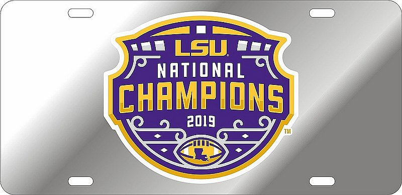 LSU Tigers National Championship Champs Vinyl Decal License Plate Tag 2019 - 2020 Silver 37457