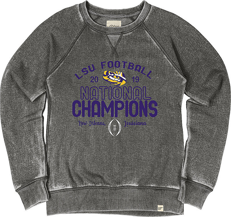 LSU Tigers National Championship Champs Womens Burnout Crewneck Sweatshirt 2019 - 2020 Charcoal THIS WAY- JBWFC