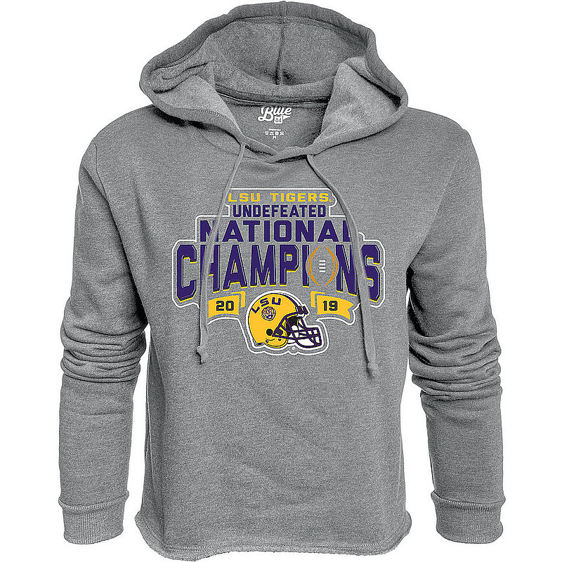 LSU Tigers National Championship Champs Womens Crop Hoodie Sweatshirt 2019 - 2020 GIVE NOTICE JR - JCCF