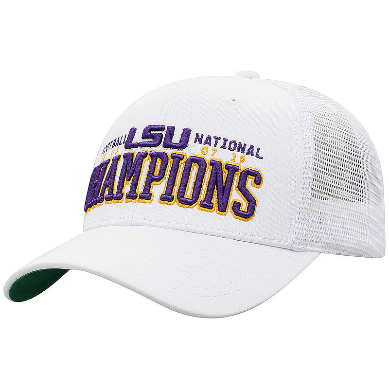 LSU Tigers National Champs Hat 2019 - 2020 Snapback White HIGH STACK - MLTCP-LAST-19C-HA3*