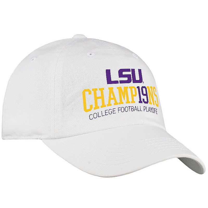 LSU Tigers National Champs Hat 2019 - 2020 White Bold LSU White Crew BOLSTER	CFBPG-CFBPC-19C-CA31 *
