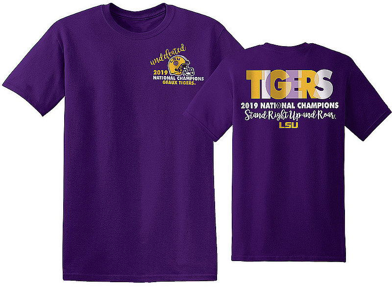 LSU Tigers National Champs Tshirt 2019 - 2020 Colorblock Purple NCFBCHP19COLORBLOCKLSUGPR *