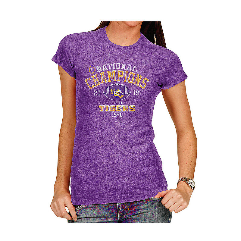 LSU Tigers National Champs Womens Triblend Tshirt 2019 - 2020 Vintage VLS6647S*