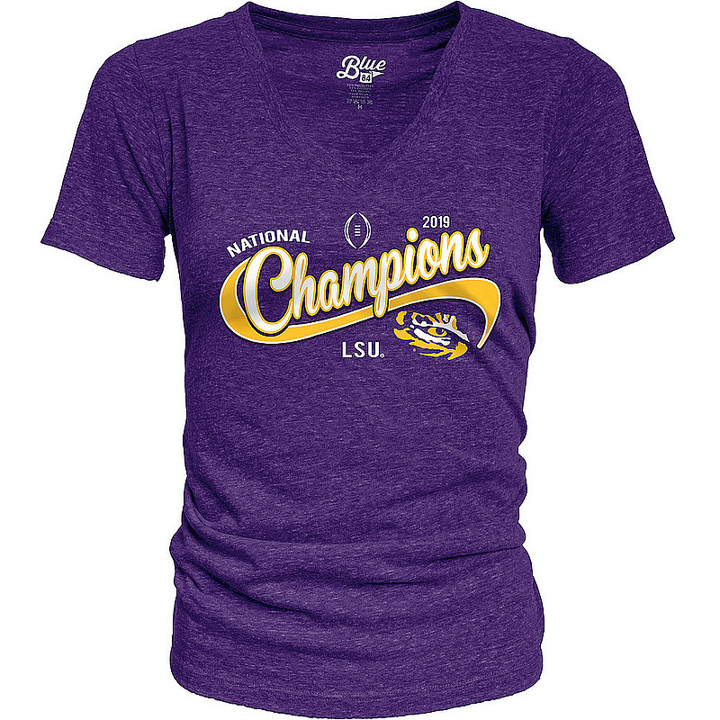 LSU Tigers National Champs Womens Tshirt 2019 - 2020 Cursive GOODNESS - JTRV