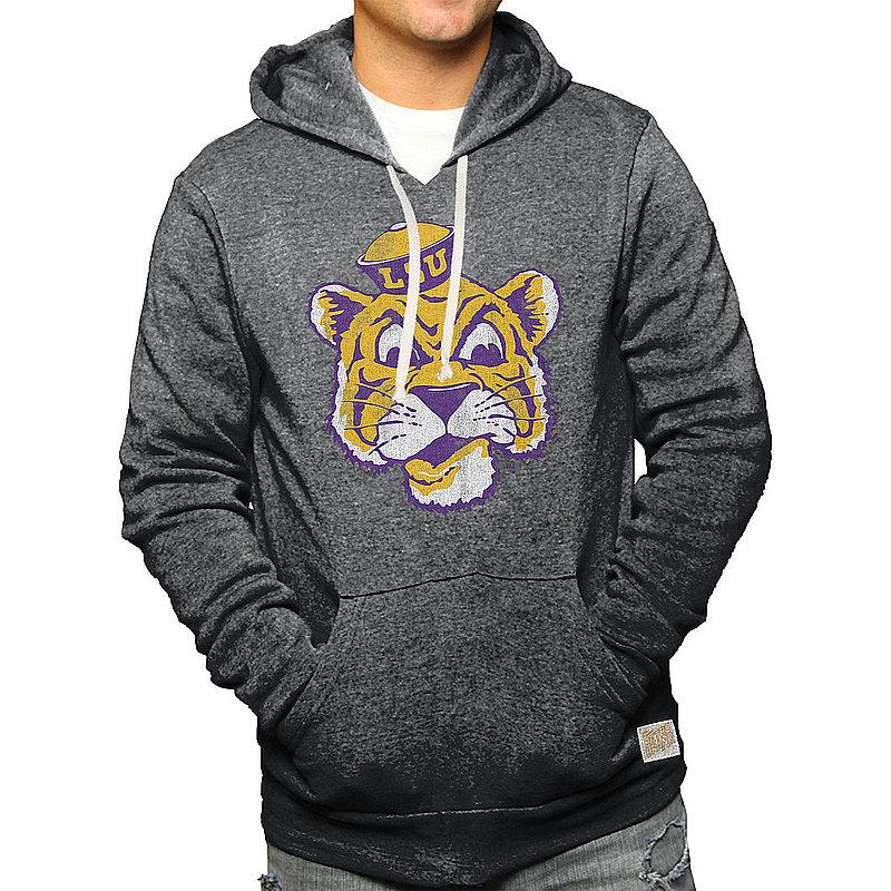 LSU Tigers Retro Hooded Sweatshirt Charcoal CLSU049A_BKF