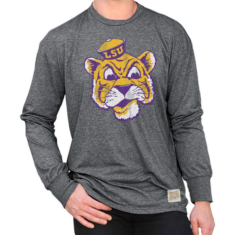 LSU Tigers Retro Long Sleeve TShirt Charcoal CLSU049A_MTCH