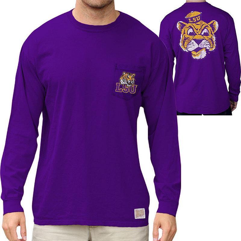 LSU Tigers Retro Pocket Long Sleeve TShirt Purple RB406