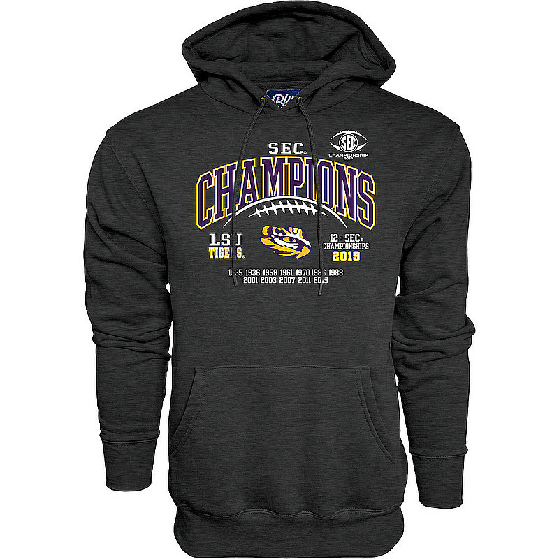 LSU Tigers SEC Champs Hooded Sweatshirt 2019 Laces Charcoal GILT