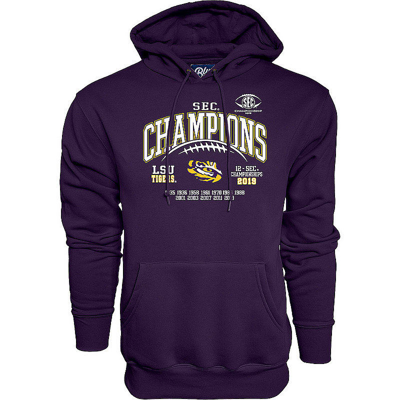 LSU Tigers SEC Champs Hooded Sweatshirt 2019 Laces