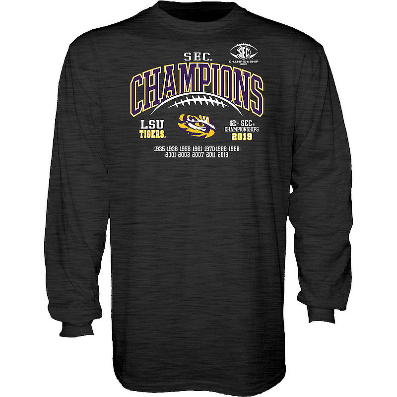 LSU Tigers SEC Champs Long Sleeve Tshirt 2019 Laces Charcoal GILT