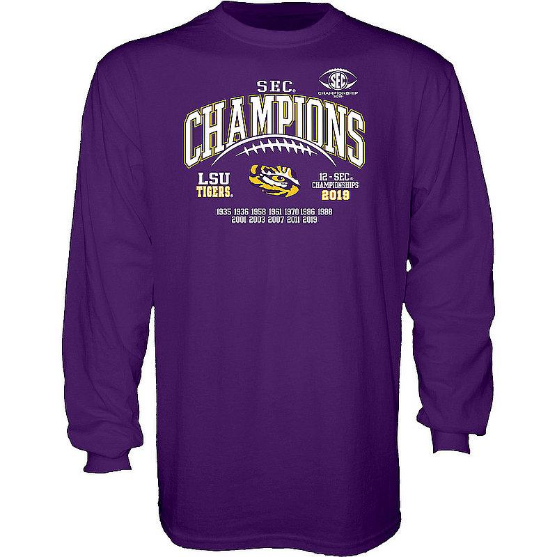 LSU Tigers SEC Champs Long Sleeve Tshirt 2019 Laces GILT