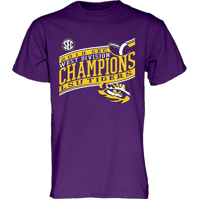 LSU Tigers SEC Champs Tshirt 2019 West Division Purple TOUR-GUIDE-SEC19-FOOT-CHAMP-V2_BH9DR_LSU_TSGI_PURPLE