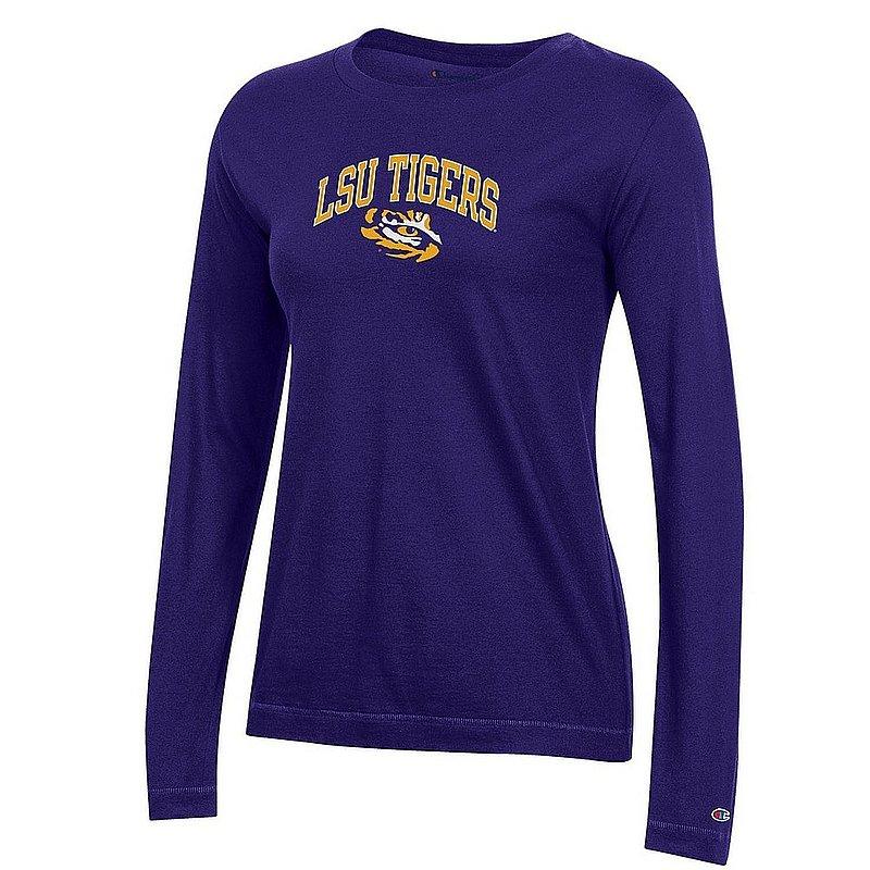 LSU Tigers Womens VNeck Long Sleeve TShirt Purple APC03324880