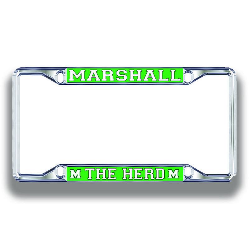 Marshall Thundering Herd License Plate Frame Silver 03599