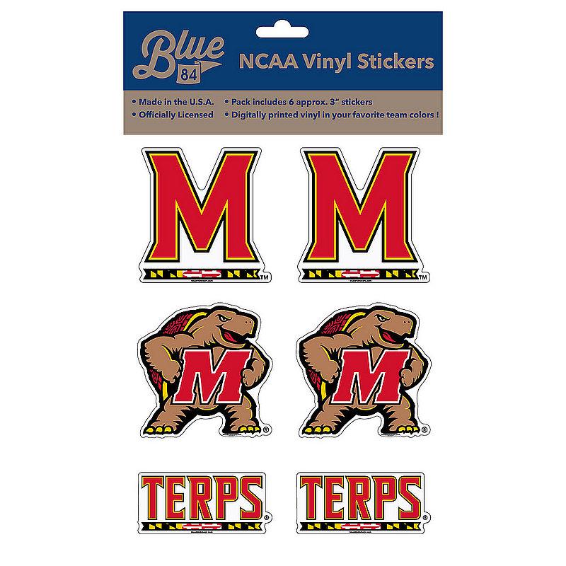 "Maryland Terrapins 3"" Vinyl Decal 6-Pack"