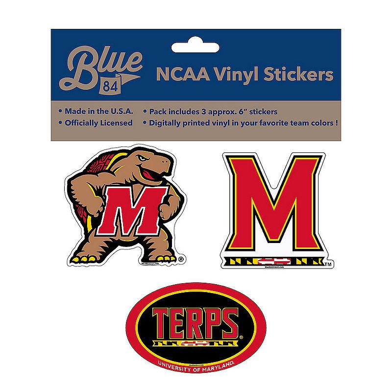 "Maryland Terrapins 6"" Vinyl Decal 3-Pack"