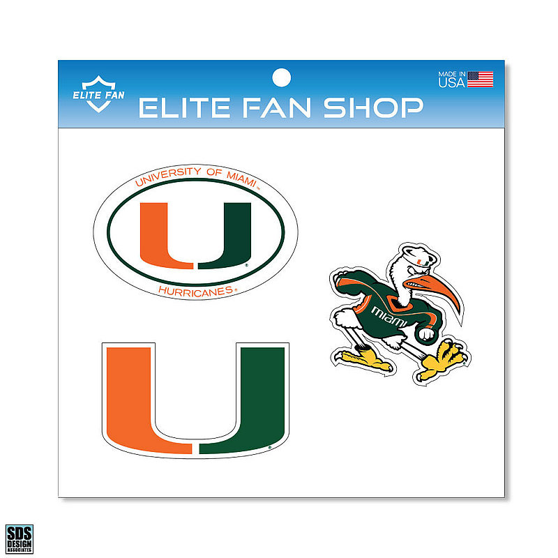 "Miami Hurricanes 6"" Vinyl Decal 3-Pack DMIA01"