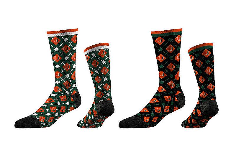Miami Hurricanes Argyle Sock 2-Pack