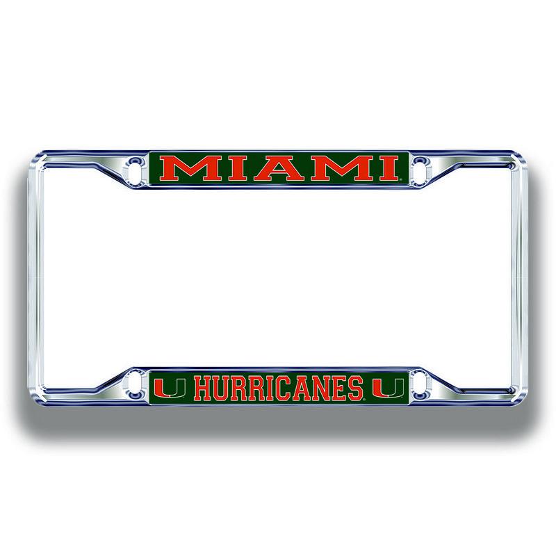 Miami Hurricanes License Plate Frame Silver 23702