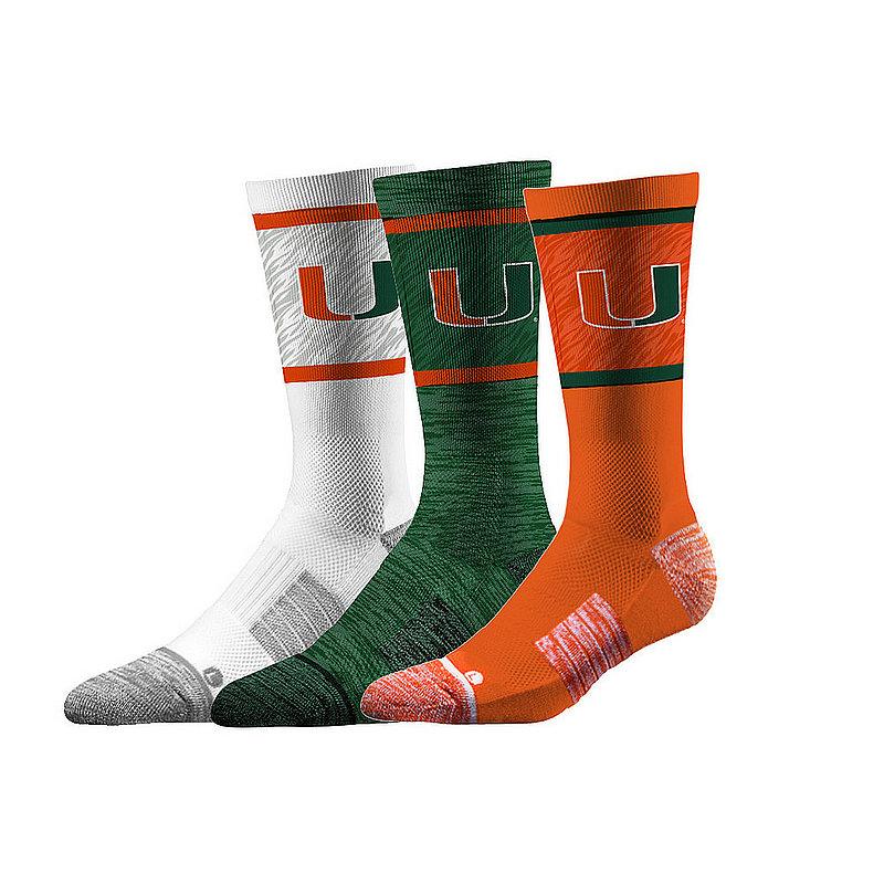 Miami Hurricanes Socks 3-Pack